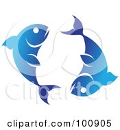 Royalty Free RF Clipart Illustration Of A Gradient Blue Pisces Fish Zodiac Icon