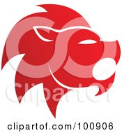 Royalty Free RF Clipart Illustration Of A Gradient Red Lion Leo Zodiac Icon by cidepix