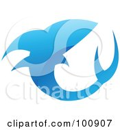 Royalty-Free Rf Clipart Illustration Of A Glossy Blue Shark Icon Logo