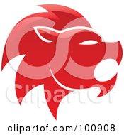 Glossy Red Lion Leo Zodiac Icon