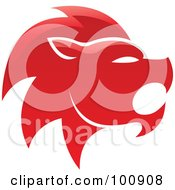 Royalty Free RF Clipart Illustration Of A Glossy Red Lion Leo Zodiac Icon by cidepix