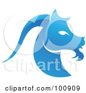 Royalty Free RF Clipart Illustration Of A Glossy Blue Capricorn Sea Goat Zodiac Icon