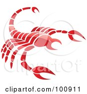 Royalty Free RF Clipart Illustration Of A Glossy Red Scorpion Scorpio Zodiac Icon by cidepix