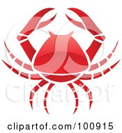Royalty Free RF Clipart Illustration Of A Glossy Red Crab Cancer Zodiac Icon