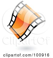 Royalty Free RF Clipart Illustration Of A Wavy Orange Glossy Film Strip Icon by cidepix