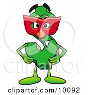 Dollar Sign Mascot Cartoon Character Wearing A Red Mask Over His Face by Toons4Biz