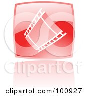 Royalty Free RF Clipart Illustration Of A Glossy Red Square Film Strip Icon by cidepix