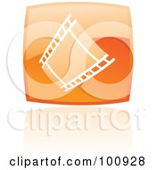 Royalty Free RF Clipart Illustration Of A Glossy Orange Square Film Strip Icon by cidepix
