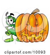 Dollar Sign Mascot Cartoon Character With A Carved Halloween Pumpkin by Toons4Biz