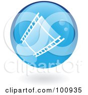 Royalty Free RF Clipart Illustration Of A Round Blue Film Strip Icon by cidepix