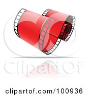 Royalty Free RF Clipart Illustration Of A Curling Red Film Strip Icon by cidepix