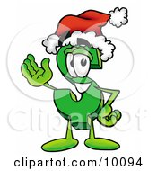 Dollar Sign Mascot Cartoon Character Wearing A Santa Hat And Waving by Toons4Biz