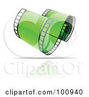 Royalty Free RF Clipart Illustration Of A Curling Green Film Strip Icon by cidepix
