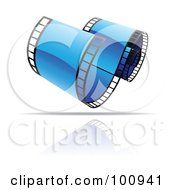 Royalty Free RF Clipart Illustration Of A Curling Blue Film Strip Icon by cidepix