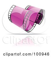 Royalty Free RF Clipart Illustration Of A Curling Purple Film Strip Icon by cidepix