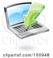 Royalty Free RF Clipart Illustration Of A 3d Glossy Green Download Arrow Over A Laptop by cidepix