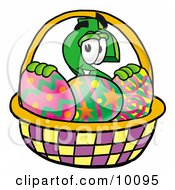 Clipart Picture Of A Dollar Sign Mascot Cartoon Character In An Easter Basket Full Of Decorated Easter Eggs by Toons4Biz