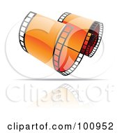 Royalty Free RF Clipart Illustration Of A Curling Orange Film Strip Icon