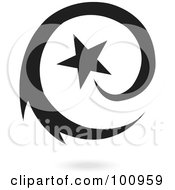 Royalty Free RF Clipart Illustration Of A Blue Spiraling Star Logo Icon by cidepix