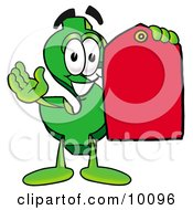 Dollar Sign Mascot Cartoon Character Holding A Red Sales Price Tag by Toons4Biz