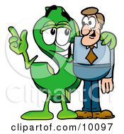 Clipart Picture Of A Dollar Sign Mascot Cartoon Character Talking To A Business Man