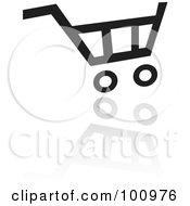 Royalty Free RF Clipart Illustration Of A Black And White Shopping Cart Web Icon And Reflection by cidepix