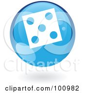 Royalty Free RF Clipart Illustration Of A Shiny Round Blue Dice Icon by cidepix