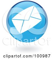 Royalty Free RF Clipart Illustration Of A Round Glossy Blue Envelope Web Icon by cidepix