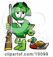Clipart Picture Of A Dollar Sign Mascot Cartoon Character Duck Hunting Standing With A Rifle And Duck by Toons4Biz