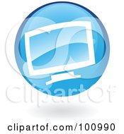 Royalty Free RF Clipart Illustration Of A Blue Computer Logo Icon by cidepix