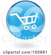 Round Glossy Blue Shopping Cart Web Icon