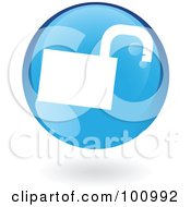 Royalty Free RF Clipart Illustration Of A Round Glossy Blue Padlock Web Icon by cidepix