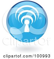 Royalty Free RF Clipart Illustration Of A Bue Podcast Logo Icon by cidepix
