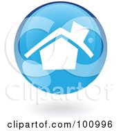 Royalty Free RF Clipart Illustration Of A Round Glossy Blue Home Page Web Icon by cidepix