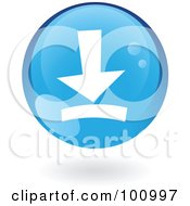 Royalty Free RF Clipart Illustration Of A Round Glossy Blue Download Web Icon