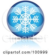 Royalty Free RF Clipart Illustration Of A White Snowflake On A Blue Orb Icon by cidepix