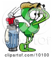 Clipart Picture Of A Dollar Sign Mascot Cartoon Character Swinging His Golf Club While Golfing