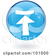 Royalty Free RF Clipart Illustration Of A Round Glossy Blue Upload Web Icon by cidepix
