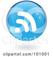 Royalty Free RF Clipart Illustration Of A Round Blue RSS Logo Icon by cidepix