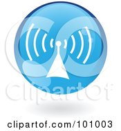 Royalty Free RF Clipart Illustration Of A Blue Radio Signal Logo Icon by cidepix