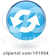 Royalty Free RF Clipart Illustration Of A Round Glossy Blue Refresh Web Icon