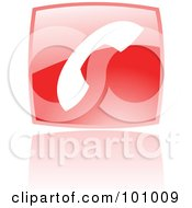Royalty Free RF Clipart Illustration Of A Shiny Red Square Phone Web Browser Icon by cidepix