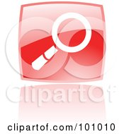Royalty Free RF Clipart Illustration Of A Shiny Red Square Search Web Browser Icon