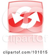 Royalty Free RF Clipart Illustration Of A Shiny Red Square Refresh Web Browser Icon
