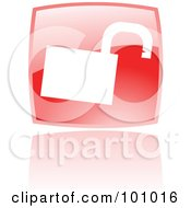 Royalty Free RF Clipart Illustration Of A Shiny Red Square Padlock Web Browser Icon by cidepix