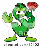Dollar Sign Mascot Cartoon Character Holding A Red Rose On Valentines Day by Toons4Biz