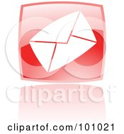 Royalty Free RF Clipart Illustration Of A Shiny Red Square Envelope Web Browser Icon