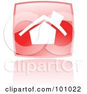 Royalty Free RF Clipart Illustration Of A Shiny Red Square Home Page Web Browser Icon by cidepix