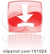Royalty Free RF Clipart Illustration Of A Shiny Red Square Download Web Browser Icon by cidepix