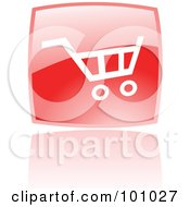 Royalty Free RF Clipart Illustration Of A Glossy Red Square Shopping Cart Web Icon And Reflection by cidepix
